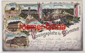 82755 Ak Lithographie Gruß vom Truppenübungsplatz bei Darmstadt 1912