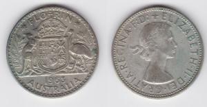 1 Florin Silber Münze Australien Elisabeth II 1963 (117230)