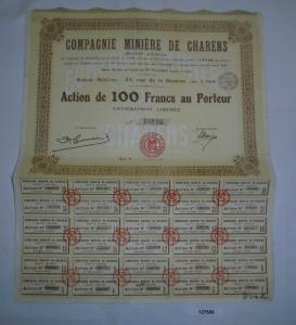 100 Francs Aktie Compagnie Minière de Charens Lyon 3. Mai 1928 (127508)