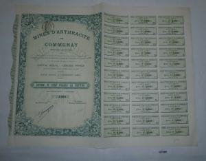 10 Francs Aktie Mines d'Anthracite de Communay 19. Dezember 1910 (127485)