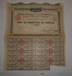 10 Francs Aktie Mines d'Argent de la Caunette Carcassonne 15. Jan. 1923 (127486)