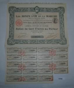 10 Francs Aktie Les Mines d'Or de la Marche Paris 1. Mai 1912 (127502)