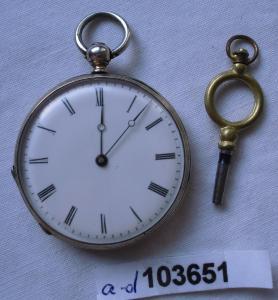 Seltene silberne Herren Taschenuhr mit Schlüsselaufzug um 1900 (103651)