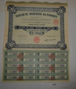 10 Francs Aktie Société Minière du Diahot Paris 16. April 1929 (127501)
