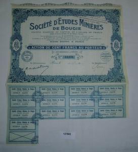10 Francs Aktie Société d'Etudes Minières de Bougie Paris 29. Nov 1923 (127882)