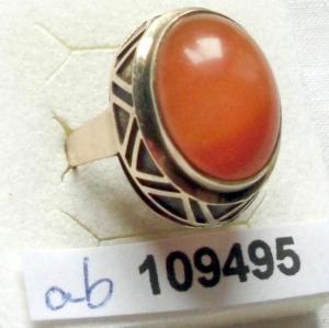 Dekorativer Damenring 333er Gold mit orangem Stein (109495)