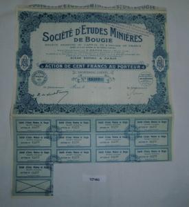 10 Francs Aktie Société d'Etudes Minières de Bougie Paris 29. Nov 1923 (127483)