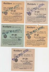 5 verschiedene 50 Pfennig Milch Gutscheine Stadt Leipzig (121038)