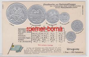 83431 Präge Ak mit Münzabbildungen Uruguay um 1920