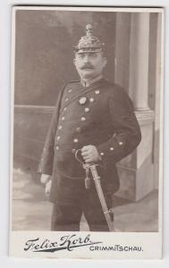 84001 Kabinett Foto Soldat Artillerie mit Pickelhaube und Säbel Crimmitschau