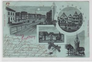 93999 AK Gruss aus Friedberg - Kaiserstrasse, Adolfsthurm, Burg & Fachwerkhäuser