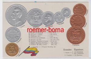 85770 Präge Ak mit Münzabbildungen Ecuador um 1920