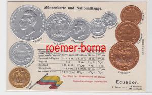 81408 Präge Ak mit Münzabbildungen Ecuador um 1920