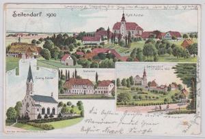 91955 Ak Lithographie Seitendorf Zatonie Kretscham usw. 1901