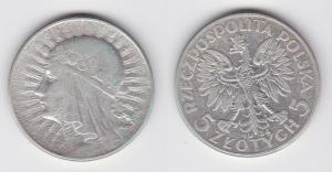 5 Zloty Silber Münze Polen Mädchenkopf 1934 (117388)