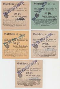 5 verschiedene 50 Pfennig Milch Gutscheine Stadt Leipzig (120401)