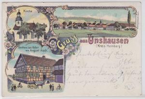 91839 Ak Lithographie Gruß aus Unshausen (Kreis Homberg) Gasthaus zum Adler 1909