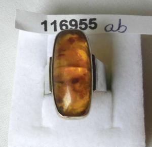 Massiver Bernstein Ring 835er Silber Fischlandschmuck um 1930 (116955)