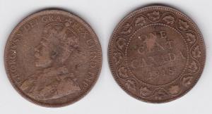 1 Cent Kupfer Münze Kanada Canada 1918 (110629)