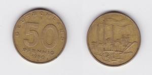 50 Pfennig Messing Münze DDR 1950 Pflug vor Industrielandschaft (120048)
