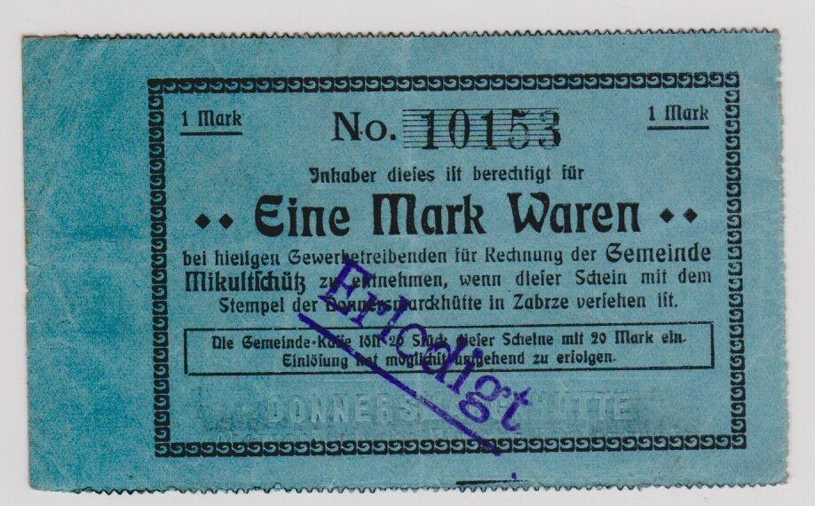 1 Mark Banknote Notgeld Mikultschütz Donnersmarckhütte in Zabrze um 1920(120911) 0