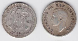 2 Schilling Silber Münze Südafrika Georg VI, Wappen 1943 (114402)