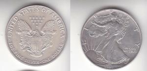 1 Dollar Silber Münze Silver Eagle USA 1991 1 Unze Feinsilber  (113385)