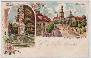 91892 Ak Lithographie Gruß aus Trebnitz in Schlesien Klosterplatz 1900