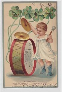 81743 Herzlichen Glückwunsch zum Geburtstag Ak Kind mit Pauke 1910