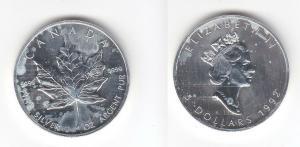 5 Dollar Silber Münze Kanada Maple Leaf 1992 1 Unze Feinsilber  (113462)