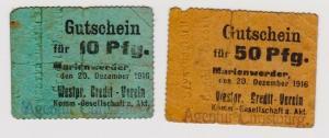 10 & 50 Pfennig Banknote Notgeld Marienwerder 20.12.1916 (120762)