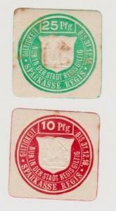10 & 25 Pfennig Banknoten Notgeld Sparkasse Regis 1918 (120288)