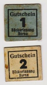 1 & 2 Pfennig Banknoten Notgeld Bäckerinnung Borna um 1918 (120368)