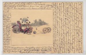 67774 Künstler Präge AK Automobile während Unfall, Insassen fallen heraus 1905