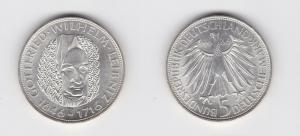 5 Mark Silber Münze Deutschland Gottfried Wilhelm Leibniz 1966 D Stgl. (135370)