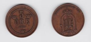5 Öre Kupfer Münze Schweden 3 Kronen 1885 (133685)