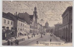 72711 AK Schaffhausen - Bahnhofstrasse, Straßenansicht mit Gasthof & Geschäften