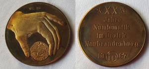 20 Jahre Numismatik Bezirk Neubrandenburg 1987, Hand mit Münze (101200)