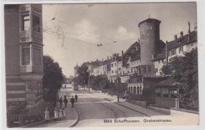 64164 AK Schaffhausen - Grabenstrasse, Straßenansicht mit Straßenbahn 1906