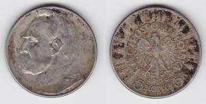 5 Zloty Silber Münze Polen Josef Pilsudski 1935 (120648)