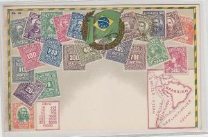 57143 Wappen Ak Brasilien Brazil mit Briefmarken um 1900