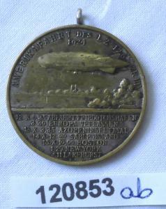 Versilberte Medaille Hugo Eckener Zeppelin Amerikafahrt 1924 (120853)