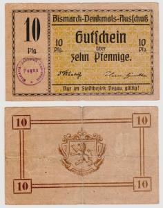 10 Pfennig Banknote Pegau Bismarck Denkmal Ausschuss ohne Datum (120732)
