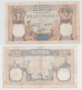 1000 Franc Banknote Frankreich 20.10.1938 (116412)