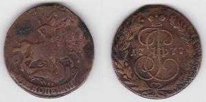 2 Kopeke Kupfer Münze Russland 1777 E.M. (120510)