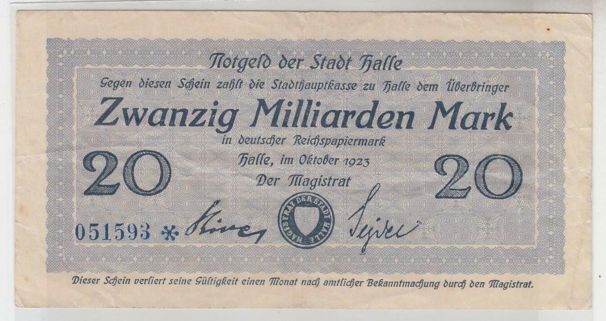 20 Milliarden Mark Inflation Banknote Stadthauptkasse Halle 1923 (110478) 0
