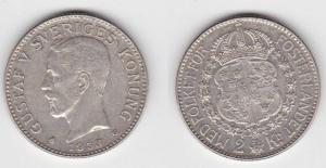 2 Kronen Silber Münze Schweden 1938 (120097)