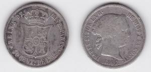 40 Centavos Silber Münze Spanien Isabella 1866 (123433)