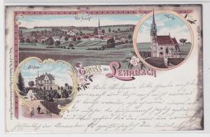 81838 Lithografie AK Gruss aus Lehrbach - Kirche, Schloss & Totalansicht 1899