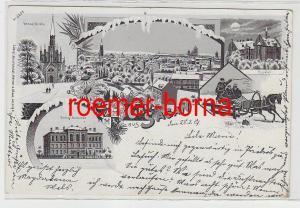 83249 Ak Winter Lithographie Gruß aus Sagan Zagan 1901